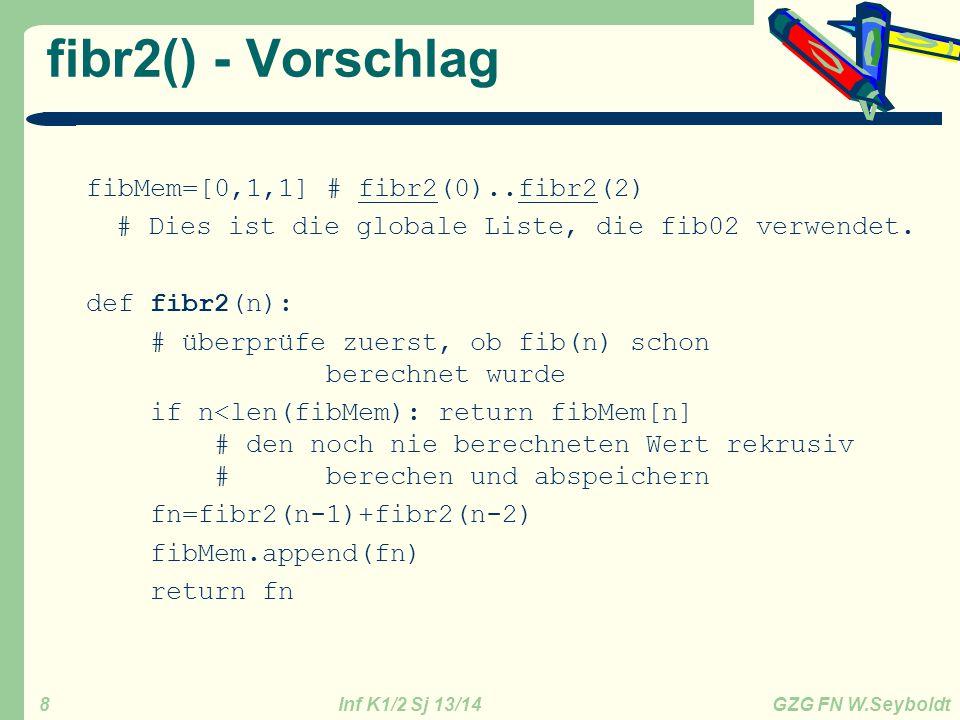 fibr2() - Vorschlag fibMem=[0,1,1] # fibr2(0)..fibr2(2)
